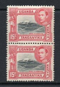 KUT 1938 KGVI PAIR 15c perf 13¼ SG 137 mint CV £90