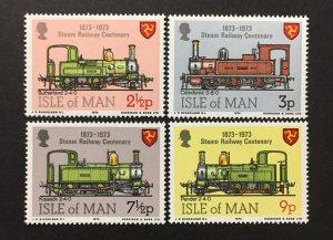 Isle of Man 1973 #29-32, Railroad, MNH.