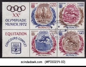 MONACO - 1972 XXth OLYMPIC GAMES MUNICH - SE-TENANT BLK OF 4 - USED