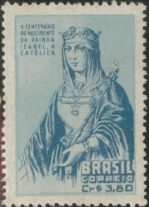 Brazil Scott 717 MNH** 1952 Queen Isabella stamp CV$1.10 Tone spots in gum
