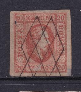 Romania an old used imperf  20p from 1865