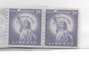 United States, 1057, 3c Liberty Coil Pair, MNH