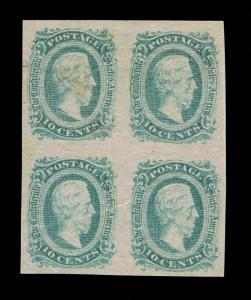 GENUINE CONFEDERATE CSA SCOTT #11 DIE-A BLUE 10¢ BLOCK OF 4 MINT OG H THICK