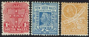 NEW SOUTH WALES 1902 QV SHIELD 1D 2D 6D WMK CROWN/NSW SG W65