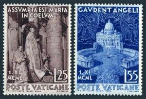 Vatican 143-144,MNH.Michel 178-179. Assumption of the Virgin Mary,1950.Pius XII,