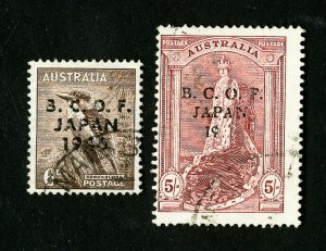 Australia Stamps # M4 + 7 F-VF Used Offices of Japan Catalog Value $211.50