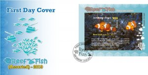 Stamps Papua New Guinea 2019. - Reef fish (assorted No. 2) - FDC SOUVENIR SHEET