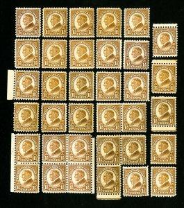 US Stamps # 582 F-VF OG NH Lot of 35 Catalog Value $455.00