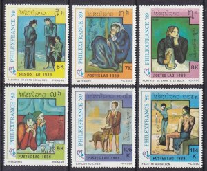 Laos 933-38 MNH 1989 Paintings by Picasso Full Set of 6 Very Fine