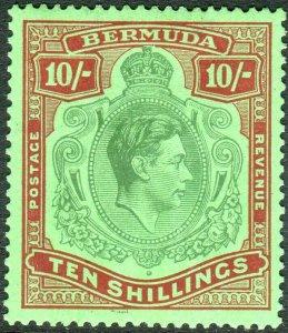 BERMUDA-1938-53 10/- Green & Deep Lake/Pale Emerald.  Mounted mint Sg 119