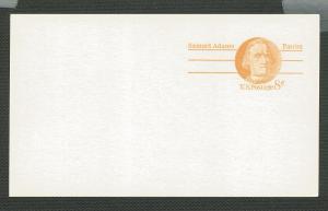 US Scott's # UX66 - 8 Cent-Samuel Adams-Postcard Unused