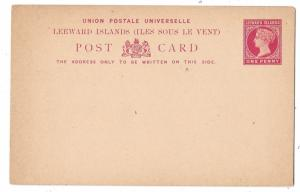Leeward Islands Postal Stationery Card 1891 QV 1 penny Unused HG 1