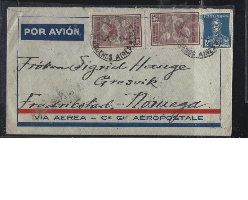 ARGENTINA (P2604B)  1932 A/M  54CX2+12C COVER TO NORWAY