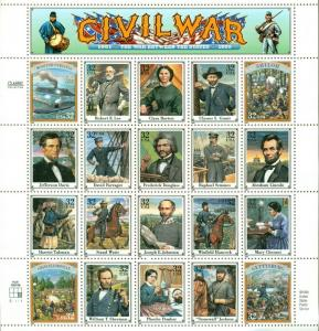 US: 1995 CIVIL WAR: Complete Sheet Sc 2975; 32 Cents Values Lee Grant Lincoln
