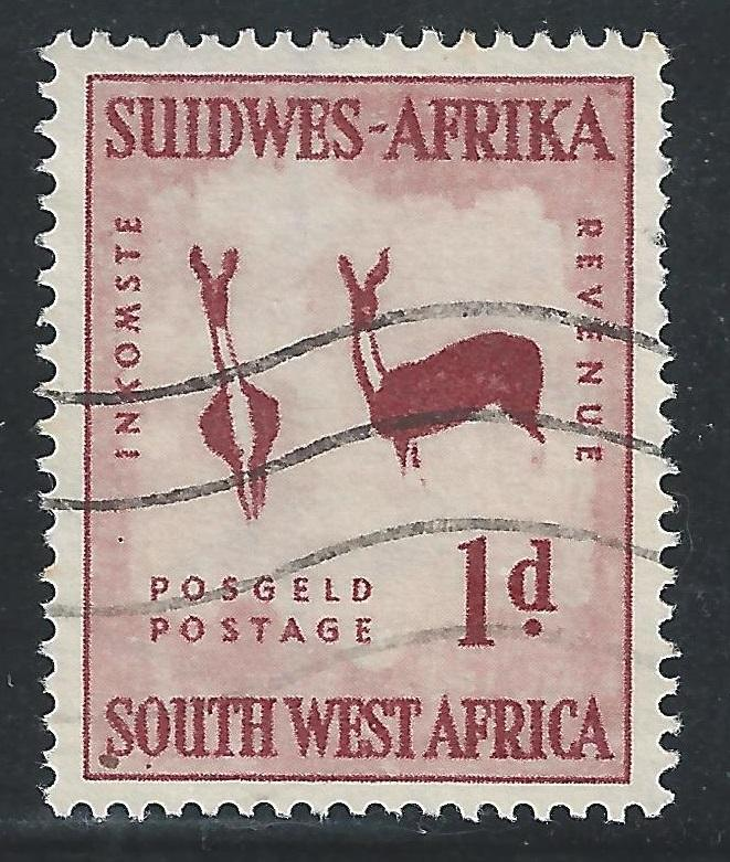 South West Africa #249 1p Rock Painting of Two Bucks