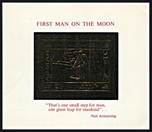 Ajman Michel Block 186, MNH with faults, Man on the Moon gold souvenir sheet