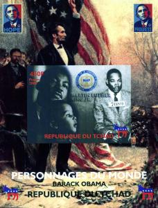 Chad 2008 Martin Luther King Obama Lincoln DeLuxe s/s mnh.vf
