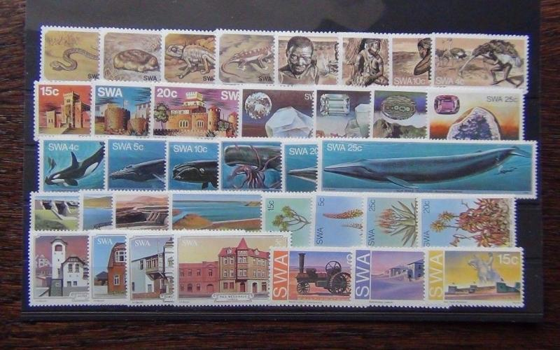 South West Africa 1975 1981 sets Animals Whales Aloes Castles Gemstones Bushmen
