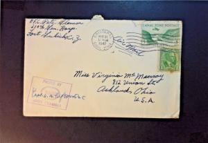 Canal Zone 1942 Censored Cover to USA - Z781