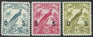 NEW GUINEA 1932 UNDATED BIRD OS 3D 31/2D AND 4D