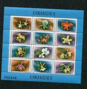 Romania MNH S/S 3535 Orchids 12 Stamps