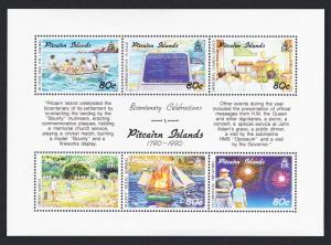 Pitcairn Bicentenary of Pitcairn Island Settlement 4th issue 6v Sheetlet