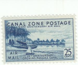 Canal Zone, Scott #C18 - 25c Blue - Mint, Very Lightly Hinged