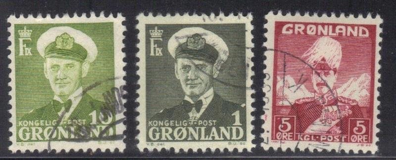 GREENLAND  SC# 2,28 & 30 **USED**  1938-60   NICE STAMPS
