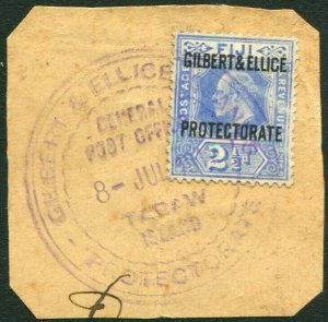 GILBERT & ELLICE ISLANDS-1911 2½d Ultramarine Fine Used on piece Sg 4 V34667