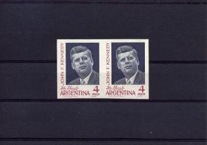 Argentina 1964 John F.Kennedy Pair IMPERFORATED Sc#760