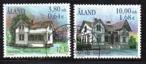 Aland Finland Sc 170-1 2000 Buildings by Hongell stamp set used