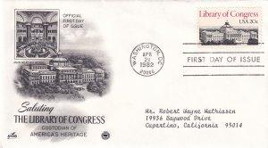 1982, Saluting Library of Congress, Art Craft/PCS, FDC (E12238)