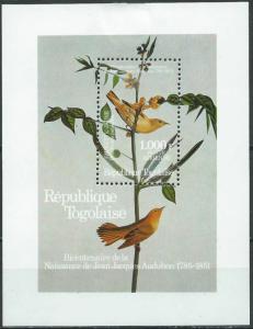 STAMP STATION PERTH Togo #1337 YTBF239 MNH S/S CV$13 Audubon Bicentenary