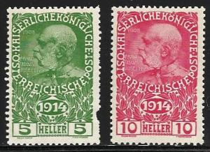 Austria 1914 Semi-Postal Scott# B1 to B2 Mint Hinged