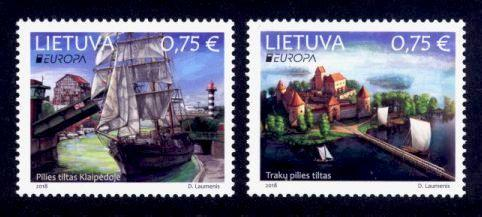 Lithuania Sc# 1126-7 MNH Europa 2018 / Bridges