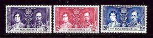 Mauritius 208-10 MNH 1937 KGVI Coronation    (ap3701)
