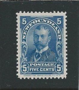 NEWFOUNDLAND 1897-1918 5c BLUE MM SG 90 CAT £50