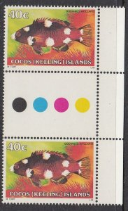 Cocos Islands 45 gutter pair MNH