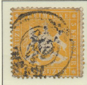 Wurttemberg Stamp Scott #20, Used - Free U.S. Shipping, Free Worldwide Shippi...