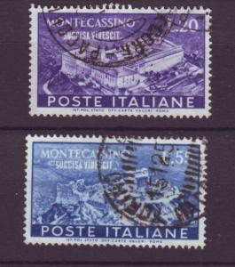 J21612 Jlstamps 1951 italy set used #579-80 montecassino