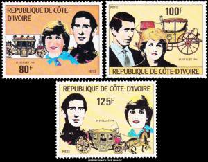 Ivory Coast Scott 593-595 Mint never hinged.
