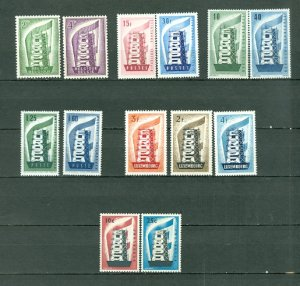 EUROPA 1956 (6/6) COUNTRIES...13 STAMPS...MNH...$212.00