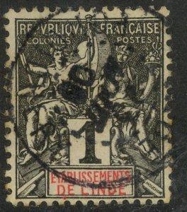 FRENCH INDIA 1892-1907 1c Black on Lilac Blue Paper Scott No. 1 VFU