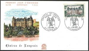 France May 4, 1968 Langeais First Day Cover Unaddressed