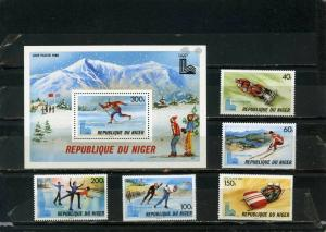 NIGER 1979 WINTER OLYMPIC GAMES LAKE PLACID SET OF 5 STAMPS & S/S MNH