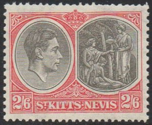 St Kitts-Nevis 1938 2/6d black and scarlet (P13x12) MH
