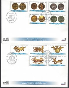 Cost Rica Natl Bank 50th Anniv,Pre-Columbian Art,Coins, Sc 534-535 FDC 2000