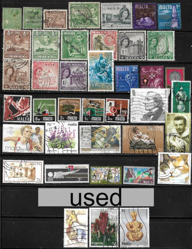 COLLECTION LOT OF 40 MALTA STAMPS 1926+