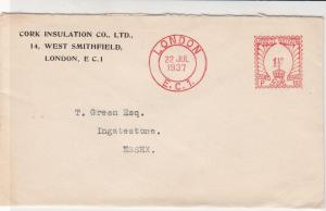 England 1937 Cork Insulation Co Ltd London Cancel Meter Mail Cover Ref 31827