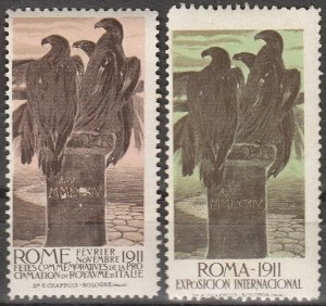 Stamp Label Italy Exposition 1911 Cinderella Rome International Fair Eagles MNH